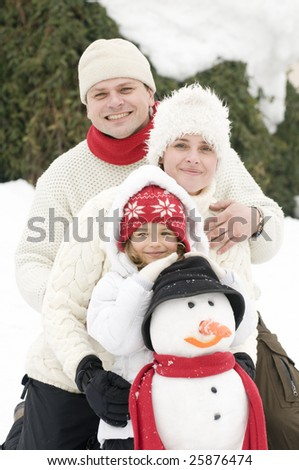 Happy family on winter