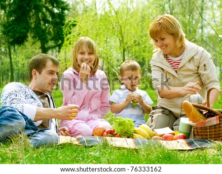 Happy Family outdoor. Picnic