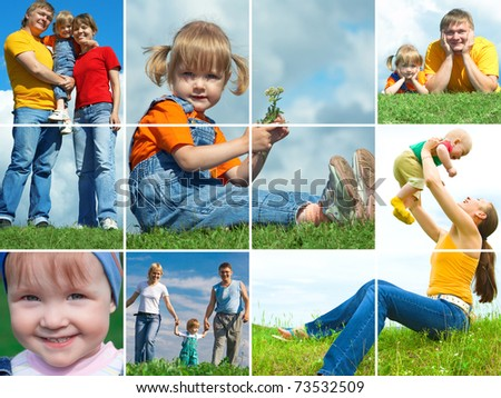 happy family outdoors assembling frame