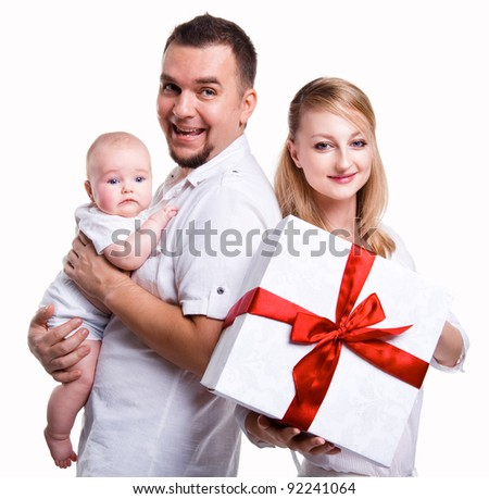 Happy family over white background