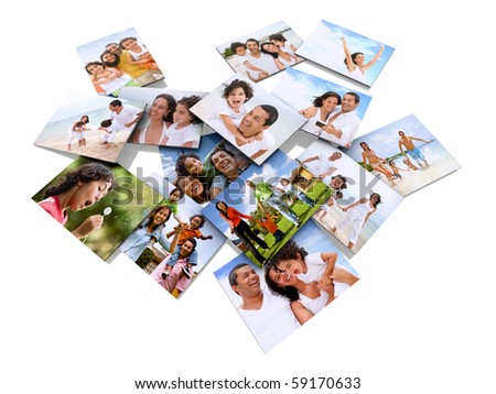 happy family photos isolated over a white background