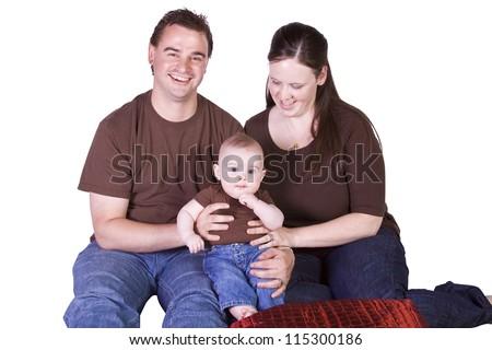 Happy Family Portrait - Isolated White Background