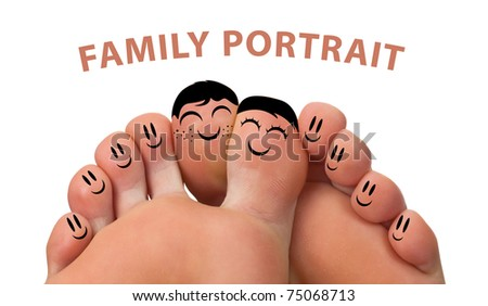 Happy family portrait of finger smileys , isolated on white