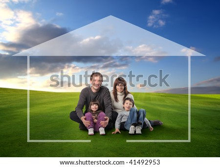 happy family seated on grass field surrounded by home drawing