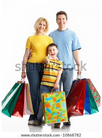 Happy family shopping. Isolated over white background