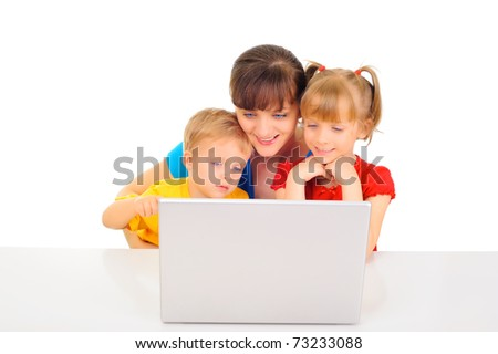 Happy family shopping online
