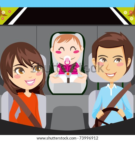 Happy family sitting inside car driving through a road with seatbelts fastened