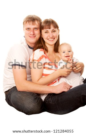 Happy family, smiling father, mother and baby. Isolated on white background