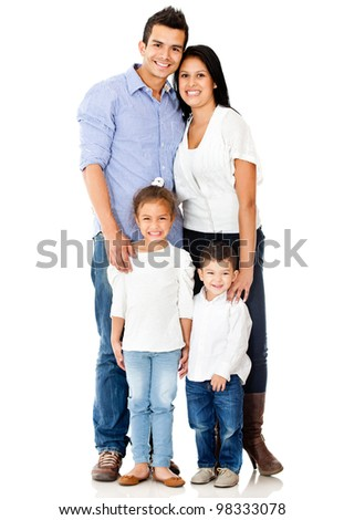 Happy family smiling - isolated over a white background