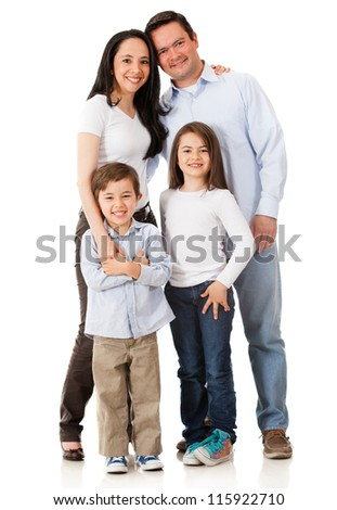 Happy family smiling together - isolated over a white background