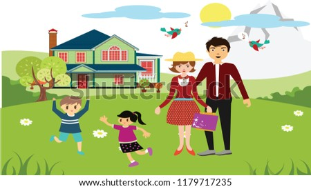 happy family theme playful children and parents design
