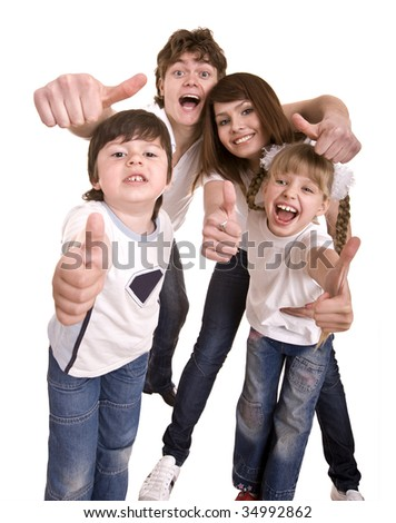 Happy family throw out thumb.Isolated.