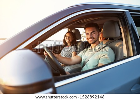 Happy family traveling by car on summer day Foto stock ©