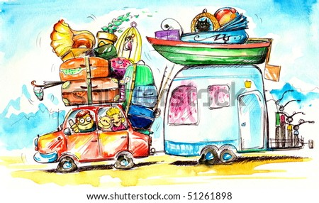 Happy family traveling on holidays.Picture I have created myself with watercolors. - stock photo