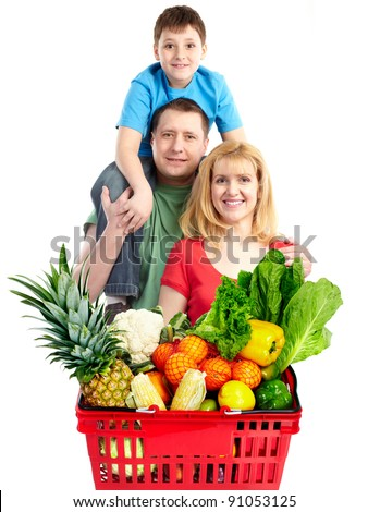 Happy family with a grocery shopping basket. Isolated on white background.