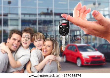 Happy family with a new car. Driving and transportation concept. #127066574