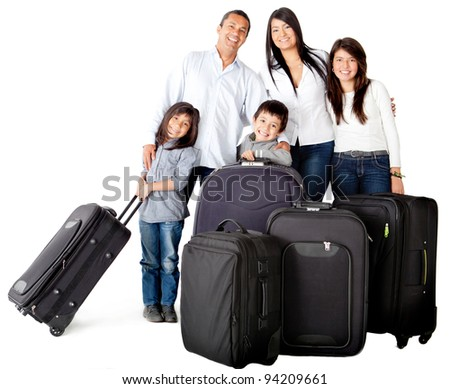 Happy family with bags ready for traveling - isolated over a white background
