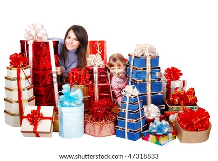 Happy family with child and group gift box. Isolated.