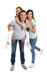 Happy family with child on white background