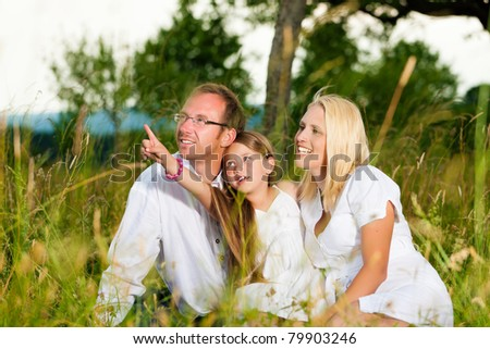 Happy family with daughter girl sitting in a meadow in summer