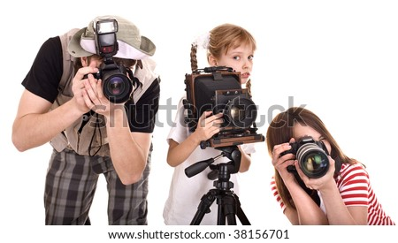 Happy family with group camera. Isolated.