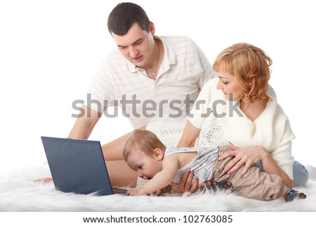 Happy family with notebook on a white background.