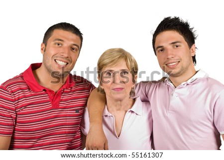 stock photo : Happy family with single mother and two adult sons smiling ...