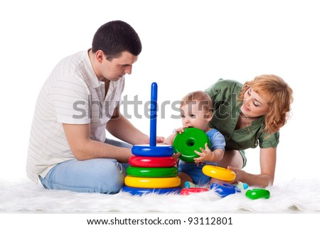 Happy family with sweet baby play  on a white background.