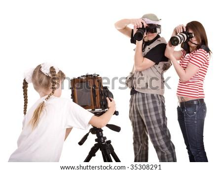 Happy family with three camera. Isolated.