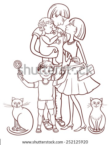 Happy family with two children and two cats.