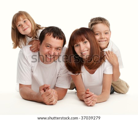 Happy family with two children separately on a white background