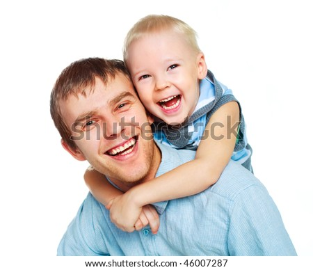happy family, young father with his little son embrace and laugh