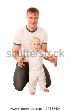 Happy father and baby.  Isolated on white background