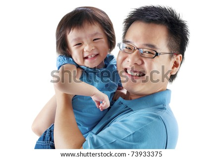 Happy father and daughter on white background