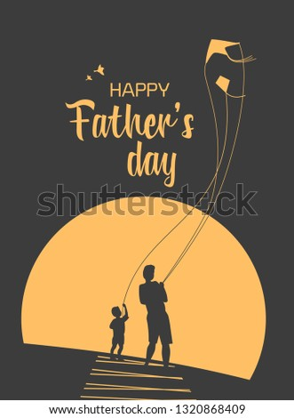 Happy father and son enjoy kiting. Father's day poster. Flat minimal simple style. Family leisure fun activity on nature. Dad and kid boy together. Holiday flyer banner background illustration