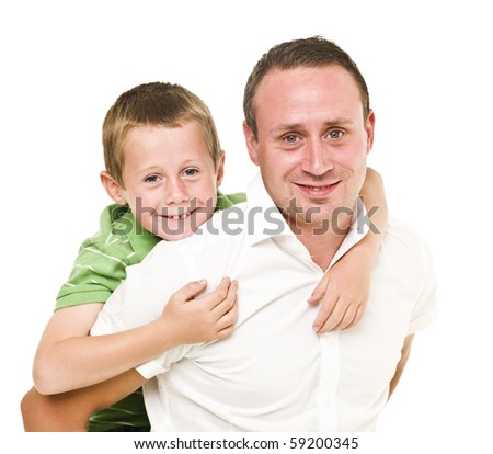 Happy Father and son isolated on white background