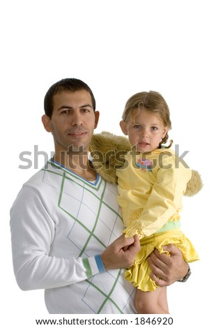 Happy father holding hes daughter