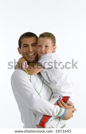 Happy father holding hes son