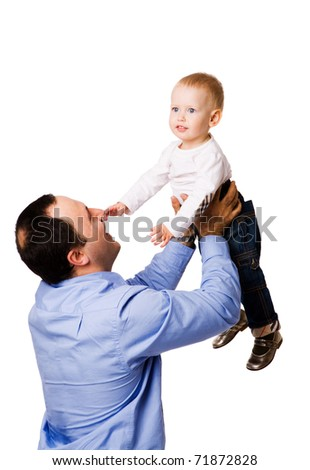 Happy father holding one year child isolated on white