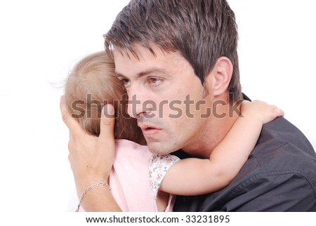 Happy father is hugging his daughter isolated