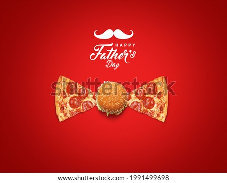 Happy Father's Day burger and pizza Concept. Father symbol shape with burger and pizza concept for restaurant and fast food brand for father's day. Restaurant and fast food Father's day concept.