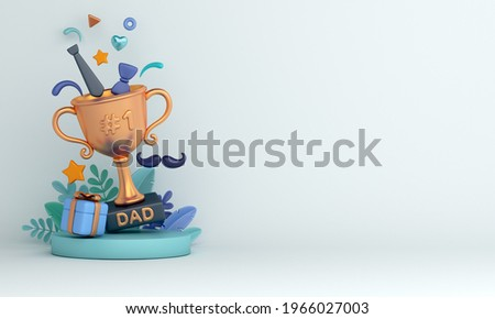 Happy Father's Day decoration background with trophy gift box necktie leaves mustache, copy space text, 3D rendering illustration Foto d'archivio ©