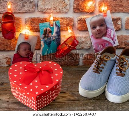Happy Father's Day . Pictures, gifts and string lights on the wooden rustic table ( Father's Day concept )