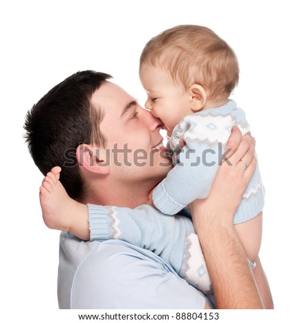 happy father with a baby isolated on a white background
