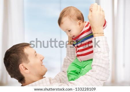happy father with adorable baby