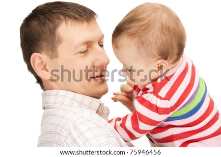 happy father with adorable baby (focus on man)