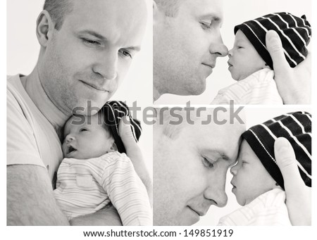 Stock Photo happy father with newborn son on a white background (collage)