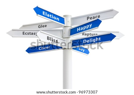 Happy feelings and emotions on a crossroads sign isolated on white background: joy, delight, glee, bliss, ecstasy, peace and more.