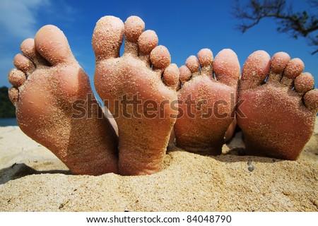 happy feet on the beach
