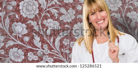 happy female doctor holding a clipboard against a floral vintage background